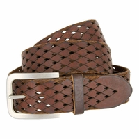 Tulliani Diamond Tooled and Perforated Belt - Brown
