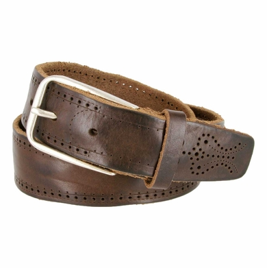 Tulliani Dot Dash Tooled Leather Belt - Brown