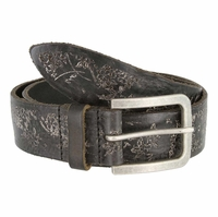 Tulliani Fiore Rustico Floral Tooled Leather Belt - Black