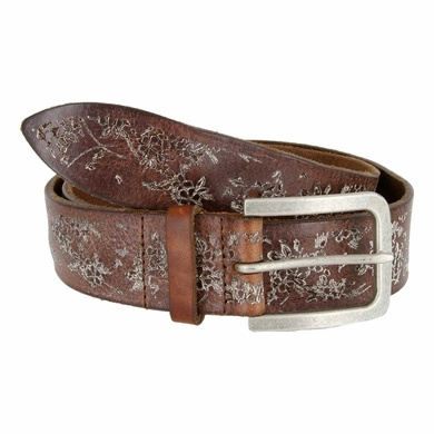 Tulliani Fiore Rustico Floral Tooled Leather Belt - Brown