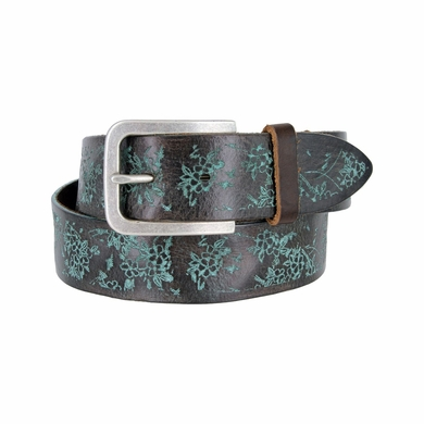 Tulliani Fiore Rustico Floral Tooled Leather Belt - Teal/Brown