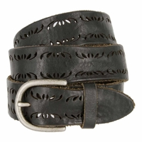 Tulliani Floral Edge Perforated Belt - Black
