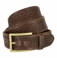 Tulliani Floral Perforated Belt - Brown