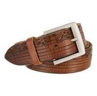 Tulliani Infiorato Floral Tooled Leather Belt - Brown