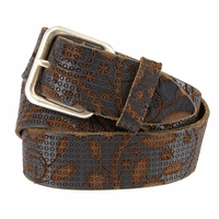 Tulliani Intricato Tooled Leather Belt - Brown
