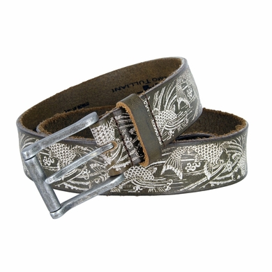 Tulliani Laser Engraved Koi Full Grain Leather Belt - Brown