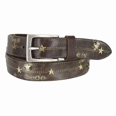 Tulliani Studded Stars and Stitches Belt - Brown and Yellow