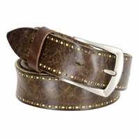 Tulliani Pezzato Dot Edge Tooled Leather Belt - Brown