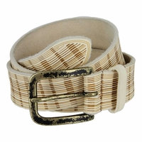 Tulliani Plaid Illusion Belt with Distressed Buckle - Cream