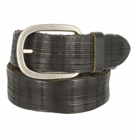 Tulliani Plaid Illusion Belt with Nickel Buckle - Black