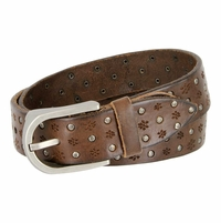 Tulliani Studded Floral Tooled Leather Belt - Brown