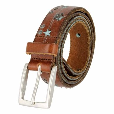 Tulliani Studded Stars and Stitches Belt - Burgundy and Aqua