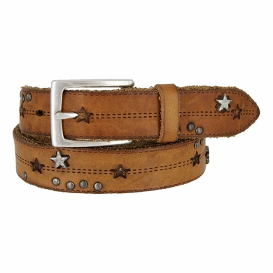 Tulliani Studded Stars and Stitches Belt - Tan and Black