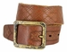 Tulliani Tartan Tooled Leather Belt with Antique Brass Finish Buckle - Tan