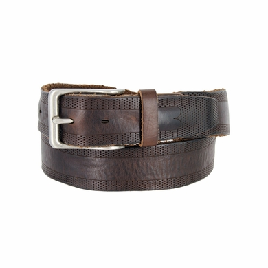 Tulliani Traspirante Perforated Tooled Leather Belt - Brown