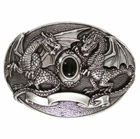 Twin Dragons Belt Buckle