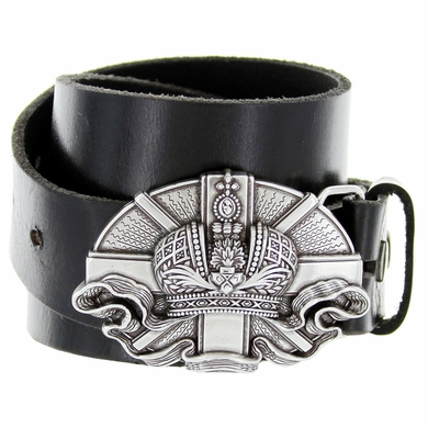 "Silver Engraved Vatican Buckle Genuine Full Grain Leather Casual Jean Belt 1-1/2""(38mm) Wide"