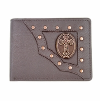 Vintage Burgundy Genuine Leather Antique Silver Concho Bifold Wallet (Western Cross)