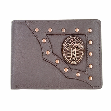 Genuine Leather Antique Silver Concho Bifold Wallet (Western Cross)