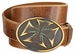 "Copper Cross Buckle Genuine Full Grain Leather Vintage Belt 1-1/2"" Wide"