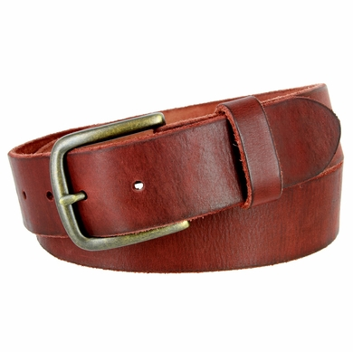"JT Vintage Men's Vintage Full Grain Cowhide Leather Casual Jeans Belt 1-1/2"" Wide - Burgundy"