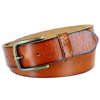 "JT Vintage Men's Vintage Full Grain Cowhide Leather Casual Jeans Belt 1-1/2"" Wide - Tan"