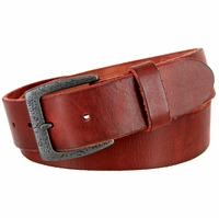 "Vintage Full Grain Cowhide Leather Casual Jeans Belt 1-1/2"" Wide BS40-JT5803 - Burgundy"