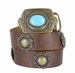 Vintage Full Grain Leather Casual Belt with Berry Conchos and Turquoise Eye Brass Buckle2