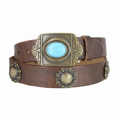 Vintage Full Grain Leather Casual Belt with Berry Conchos and Turquoise Eye Brass Buckle