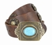 Vintage Full Grain Leather Casual Belt with Berry Conchos and Turquoise Eye Brass Buckle1