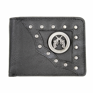 Genuine Leather Antique Silver Concho Bifold Wallet (Crossing Pistols)