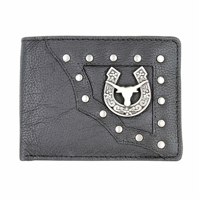 Genuine Leather Antique Silver Concho Bifold Wallet (Longhorn)