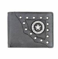 Vintage Grey Genuine Leather Antique Silver Concho Bifold Wallet (Texas Star)