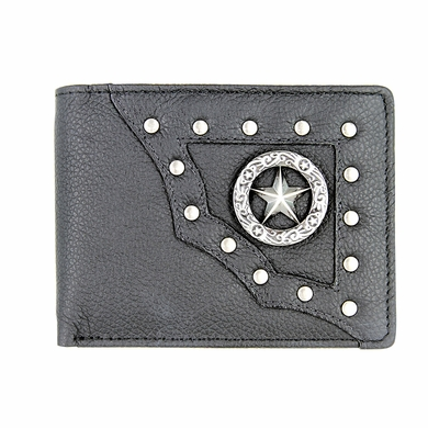 Genuine Leather Antique Silver Concho Bifold Wallet (Texas Star)