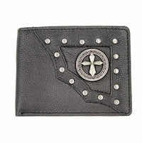 Vintage Grey Genuine Leather Antique Silver Concho Bifold Wallet (Western Cross)