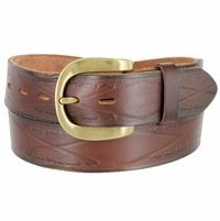 """Vintage One Piece Full Leather Diamond Tooled Casual Jean Belt 1-1/2"""" Wide Brown"""