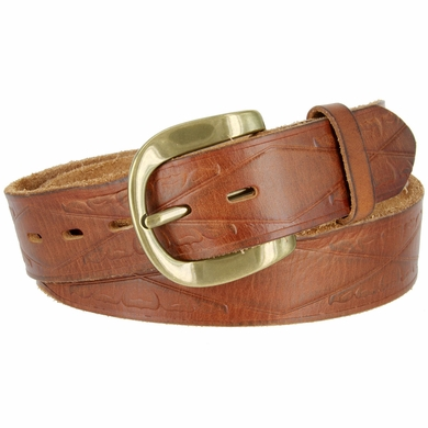 """Vintage One Piece Full Leather Diamond Tooled Casual Jean Belt 1-1/2"""" Wide Tan"""