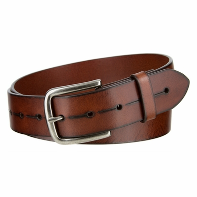 "Vintage Style Casual Jeans Leather Belt for Men 1-1/2"" wide"