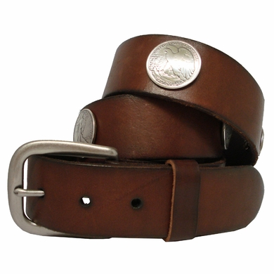 Walking Liberty Half Dollar Coin Conchos Full Grain Leather Biker Belt
