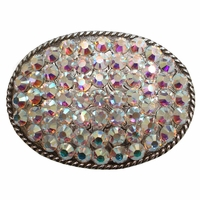 "Western AB Swarovski Rhinestone Belt Buckle Fits 1 1/2"" Wide Belts"