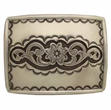 Western Engraving Highlights Sterling Finish Belt buckle H-8140