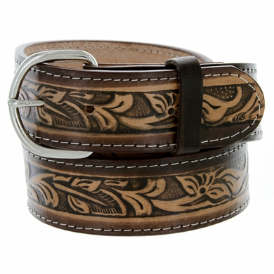 "Western Floral Embossed Genuine Leather Casual Jean Belt 1-1/2"" wide"