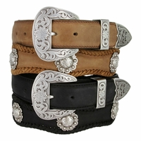 Western Fort Worth Western Men's Saddle Berry Concho Belt