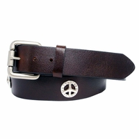 Western Peace Sign Conchos Full Grain Leather Biker Belt