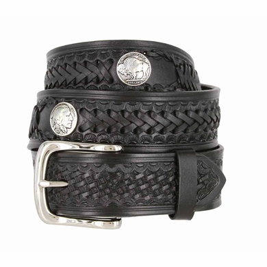 Western Scorpion Hand Woven Leather Belt Nickel Plated Indian and Buffalo Coin Conchos - Black