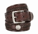 Western Scorpion Hand Woven Leather Belt Nickel Plated Indian and Buffalo Coin Conchos - Brown3