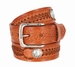 Western Scorpion Hand Woven Leather Belt Nickel Plated Indian and Buffalo Coin Conchos - Tan3