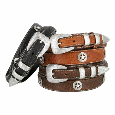 Western Silver Star Concho Genuine Leather Bison Ranger Belt