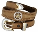 Western Texas Ranger Star Cowboy Concho Leather Belt - Brown1