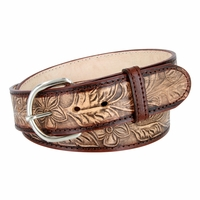 Western Tooled Floral Pattern Casual Leather Belt - Brown